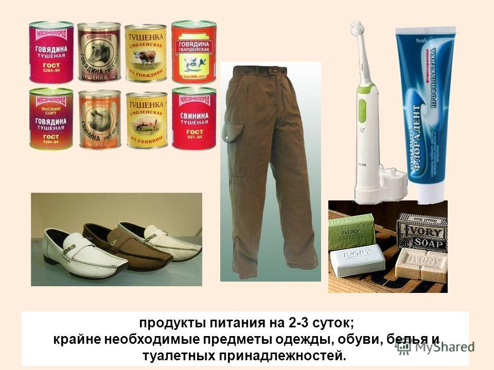 продукты питания на 2-3 суток; крайне необходимые предметы одежды, обуви, белья и туалетных принадлежностей.
