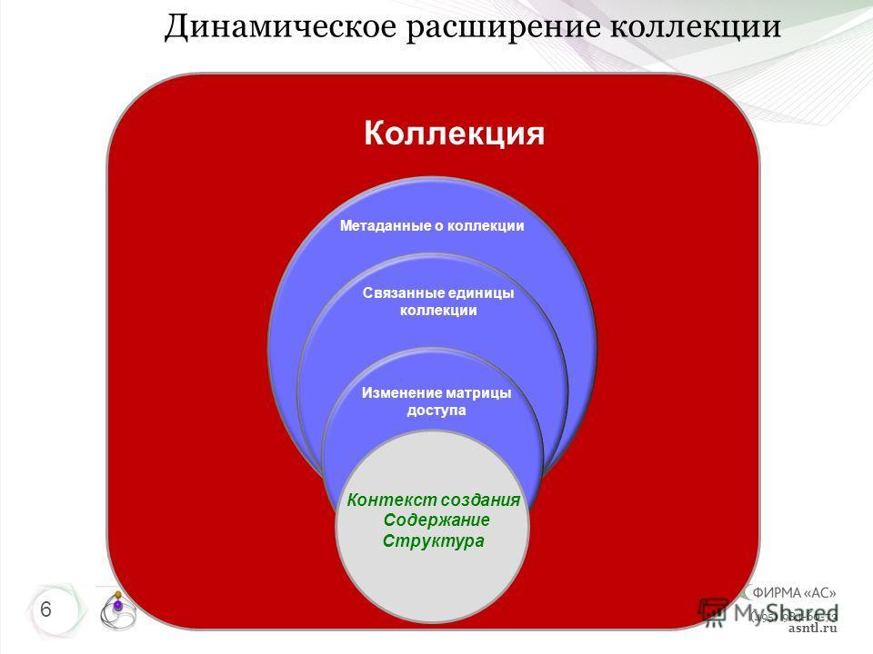 (495) 984-60-73 asntl.ru Метаданные о коллекции Связанные единицы коллекции 6 Изменение матрицы доступа Контекст создания Содержание Структура Коллекция Динамическое расширение коллекции