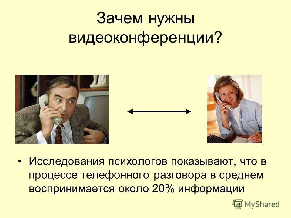 Зачем нужны видеоконференции? Исследования психологов показывают, что в процессе телефонного разговора в среднем воспринимается около 20% информации