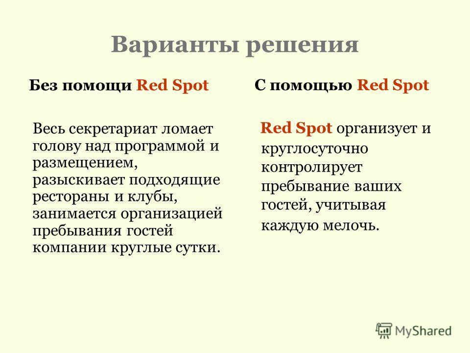 Варианты решения Весь секретариат ломает голову над программой и размещением, разыскивает подходящие рестораны и клубы, занимается организацией пребывания гостей компании круглые сутки. Без помощи Red Spot С помощью Red Spot Red Spot организует и кру