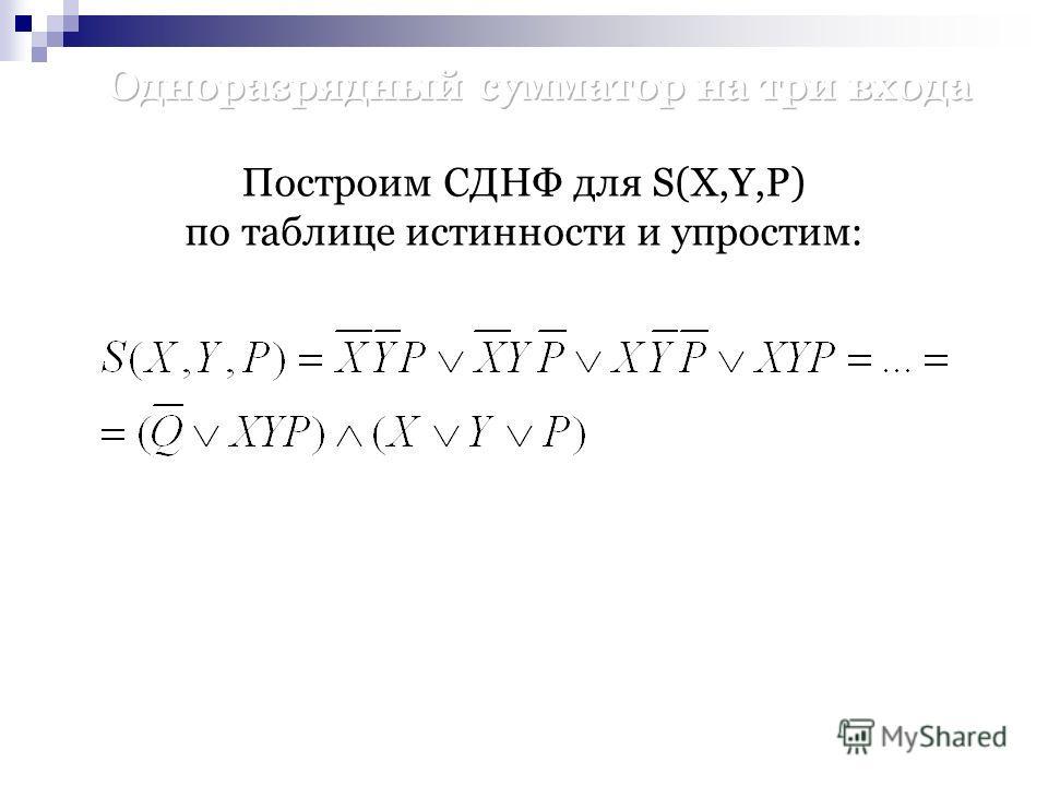 Построим СДНФ для S(X,Y,P) по таблице истинности и упростим: