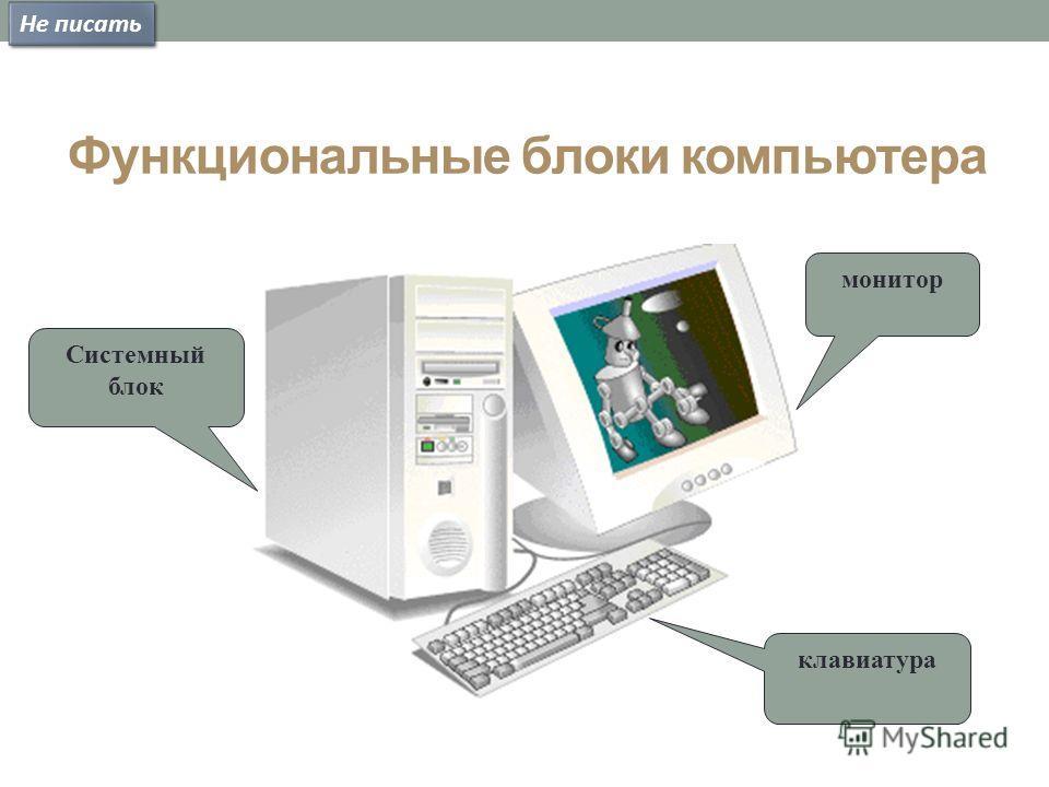 Функциональные блоки компьютера монитор клавиатура Системный блок Не писать