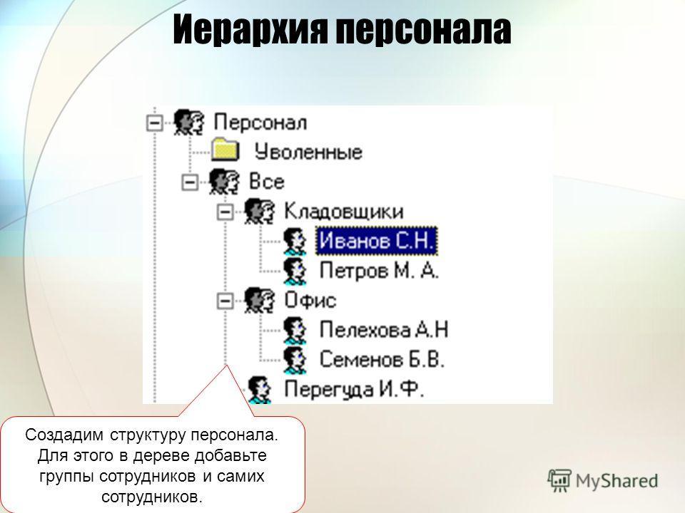 Иерархия персонала Создадим структуру персонала. Для этого в дереве добавьте группы сотрудников и самих сотрудников.