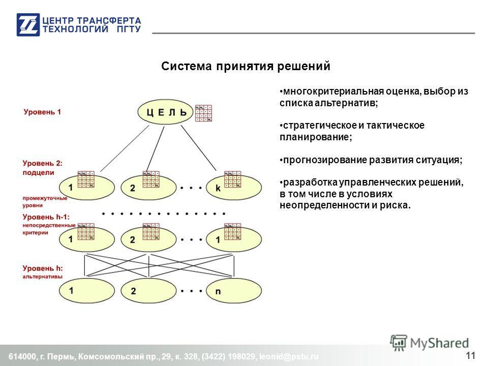 Система принятия решений 614000, г. Пермь, Комсомольский пр., 29, к. 328, (3422) 198029, leonid@pstu.ru 11 многокритериальная оценка, выбор из списка альтернатив; стратегическое и тактическое планирование; прогнозирование развития ситуация; разработк