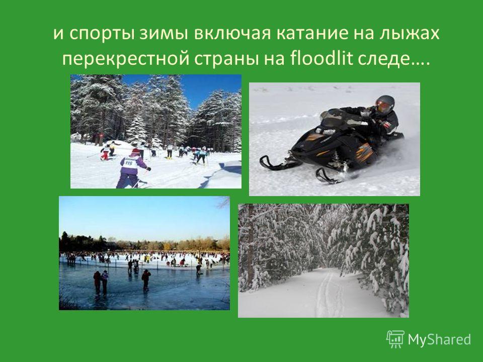 и спорты зимы включая катание на лыжах перекрестной страны на floodlit следе….