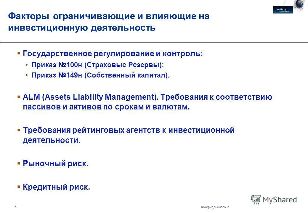 Конфиденциально 5 Факторы ограничивающие и влияющие на инвестиционную деятельность Государственное регулирование и контроль: Приказ 100н (Страховые Резервы); Приказ 149н (Собственный капитал). ALM (Assets Liability Management). Требования к соответст