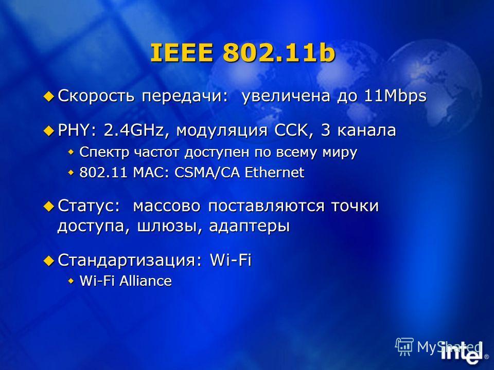 IEEE 802.11b Скорость передачи: увеличена до 11Mbps Скорость передачи: увеличена до 11Mbps PHY: 2.4GHz, модуляция CCK, 3 канала PHY: 2.4GHz, модуляция CCK, 3 канала Спектр частот доступен по всему миру Спектр частот доступен по всему миру 802.11 MAC: