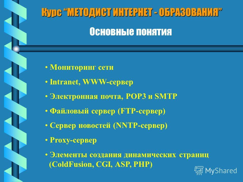 Курс МЕТОДИСТ ИНТЕРНЕТ - ОБРАЗОВАНИЯ Основные понятия Мониторинг сети Intranet, WWW-сервер Электронная почта, POP3 и SMTP Файловый сервер (FTP-сервер) Сервер новостей (NNTP-сервер) Proxy-сервер Элементы создания динамических страниц (ColdFusion, CGI,
