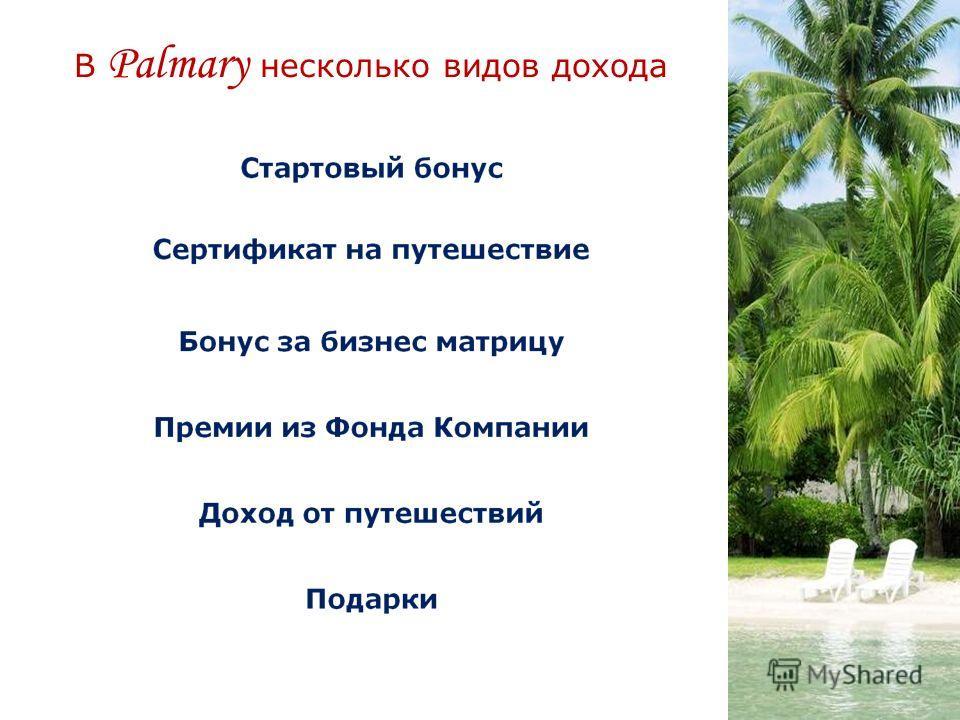В Palmary несколько видов дохода