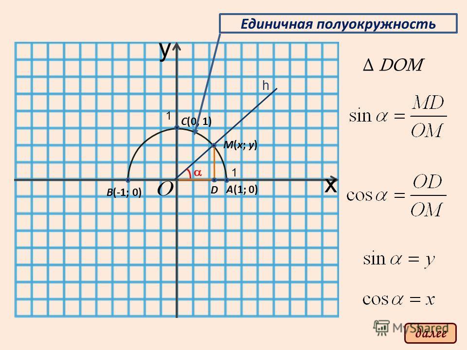 y x O 1 1 А(1; 0) B(-1; 0) C(0; 1) M(x; y) D Единичная полуокружность h DOM далее