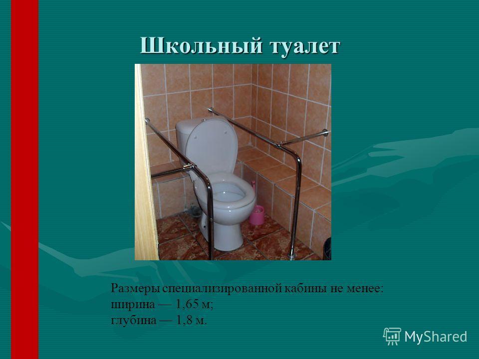 Школьный туалет Размеры специализированной кабины не менее: ширина 1,65 м; глубина 1,8 м.