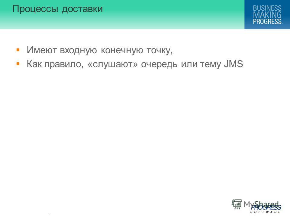 . Процессы доставки Имеют входную конечную точку, Как правило, «слушают» очередь или тему JMS