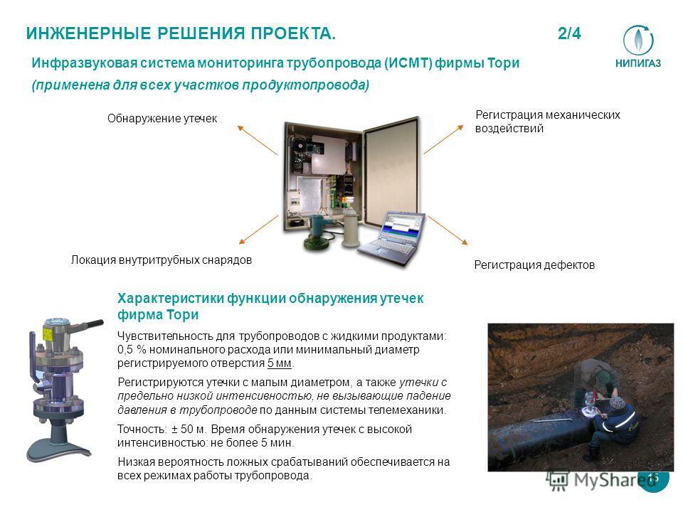 Характеристики функции обнаружения утечек фирма Тори Чувствительность для трубопроводов с жидкими продуктами: 0,5 % номинального расхода или минимальный диаметр регистрируемого отверстия 5 мм. Регистрируются утечки с малым диаметром, а также утечки с