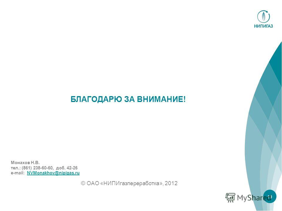 БЛАГОДАРЮ ЗА ВНИМАНИЕ! © ОАО «НИПИгазпереработка», 2012 19 Монахов Н.В. тел.: (861) 238-60-60, доб. 42-26 e-mail: NVMonakhov@nipigas.ruNVMonakhov@nipigas.ru