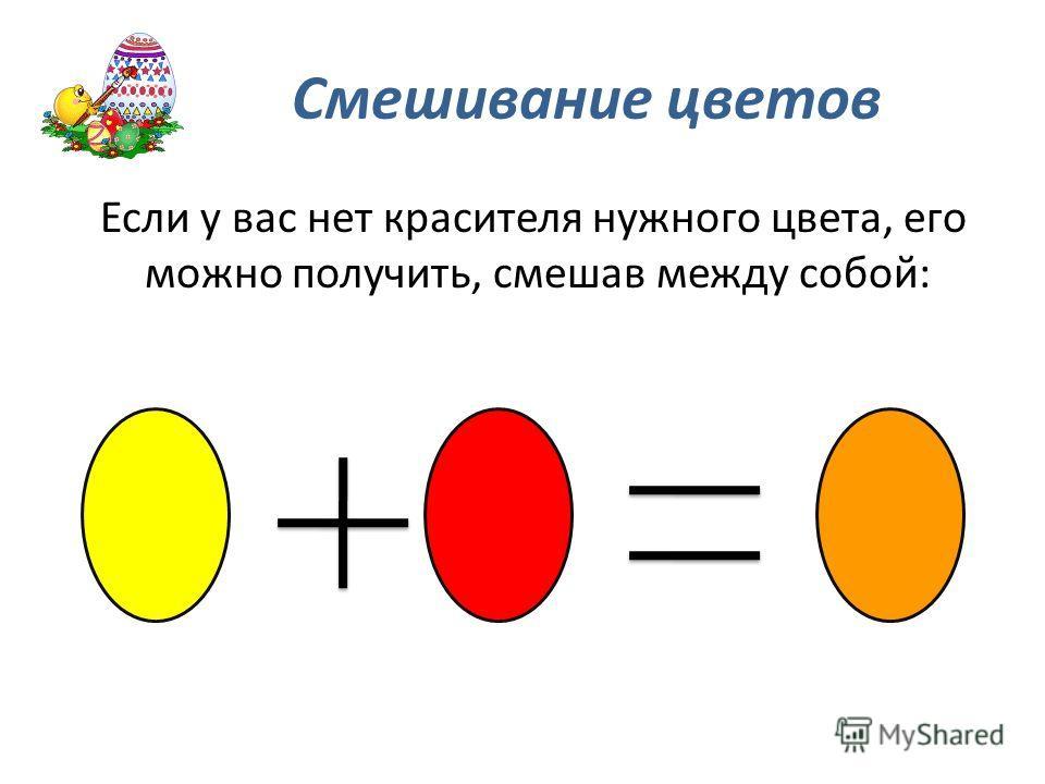 Смешивание цветов Если у вас нет красителя нужного цвета, его можно получить, смешав между собой: