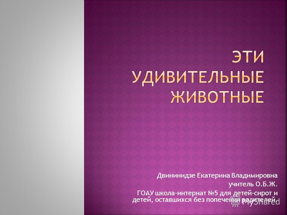 Двининидзе Екатерина Владимировна учитель О.Б.Ж. ГОАУ школа-интернат 5 для детей-сирот и детей, оставшихся без попечения родителей.