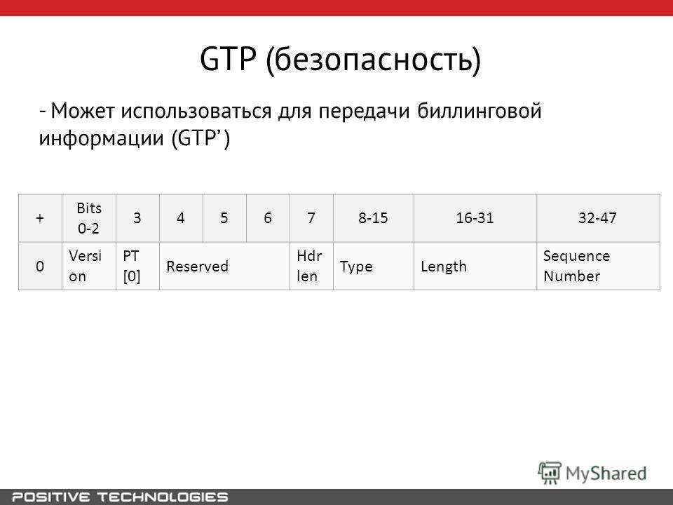 GTP (безопасность) - Может использоваться для передачи биллинговой информации (GTP ) + Bits 0-2 345678-1516-3132-47 0 Versi on PT [0] Reserved Hdr len TypeLength Sequence Number