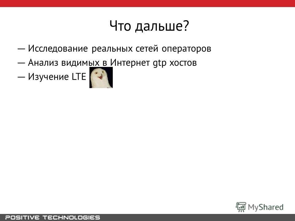 Что дальше? Исследование реальных сетей операторов Анализ видимых в Интернет gtp хостов Изучение LTE
