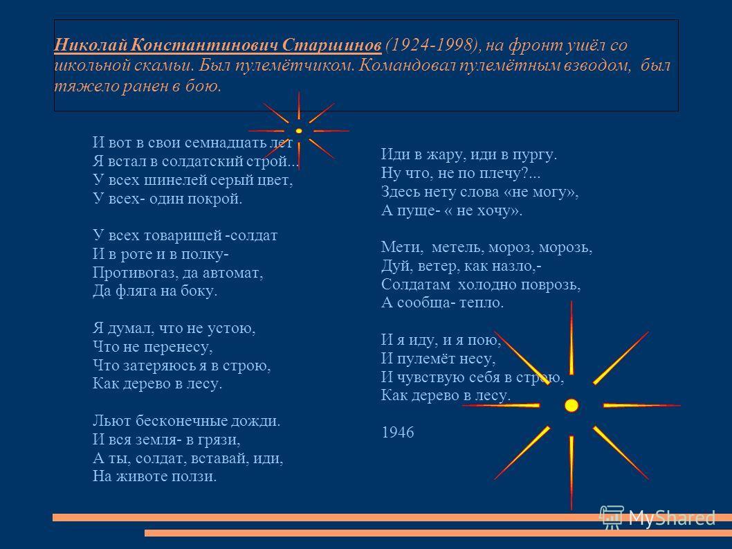 Николай Константинович Старшинов (1924-1998), на фронт ушёл со школьной скамьи. Был пулемётчиком. Командовал пулемётным взводом, был тяжело ранен в бою. И вот в свои семнадцать лет Я встал в солдатский строй... У всех шинелей серый цвет, У всех- один