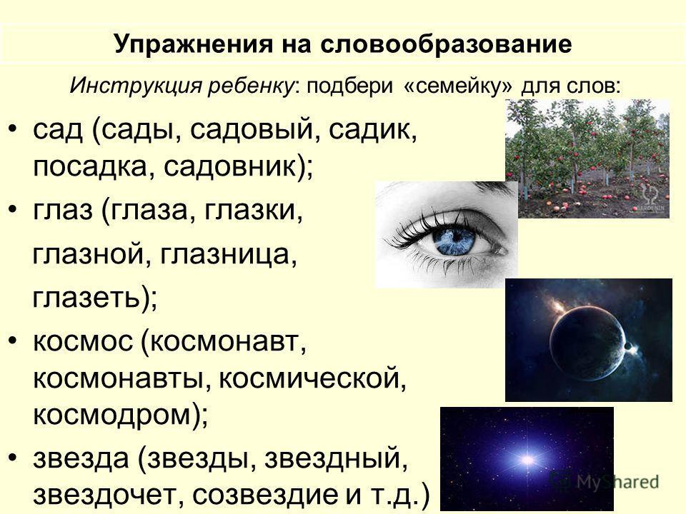 Инструкция ребенку: подбери «семейку» для слов: сад (сады, садовый, садик, посадка, садовник); глаз (глаза, глазки, глазной, глазница, глазеть); космос (космонавт, космонавты, космической, космодром); звезда (звезды, звездный, звездочет, созвездие и