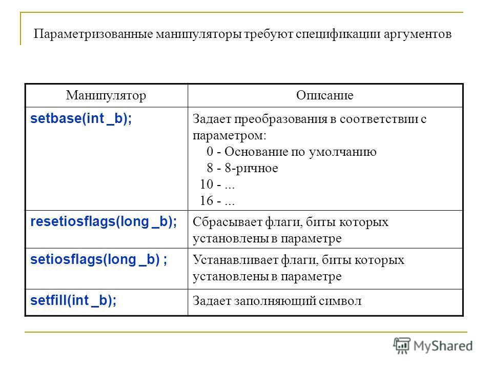 МанипуляторОписание setbase(int _b); Задает преобразования в соответствии с параметром: 0 - Основание по умолчанию 8 - 8-ричное 10 -... 16 -... resetiosflags(long _b); Сбрасывает флаги, биты которых установлены в параметре setiosflags(long _b) ; Уста
