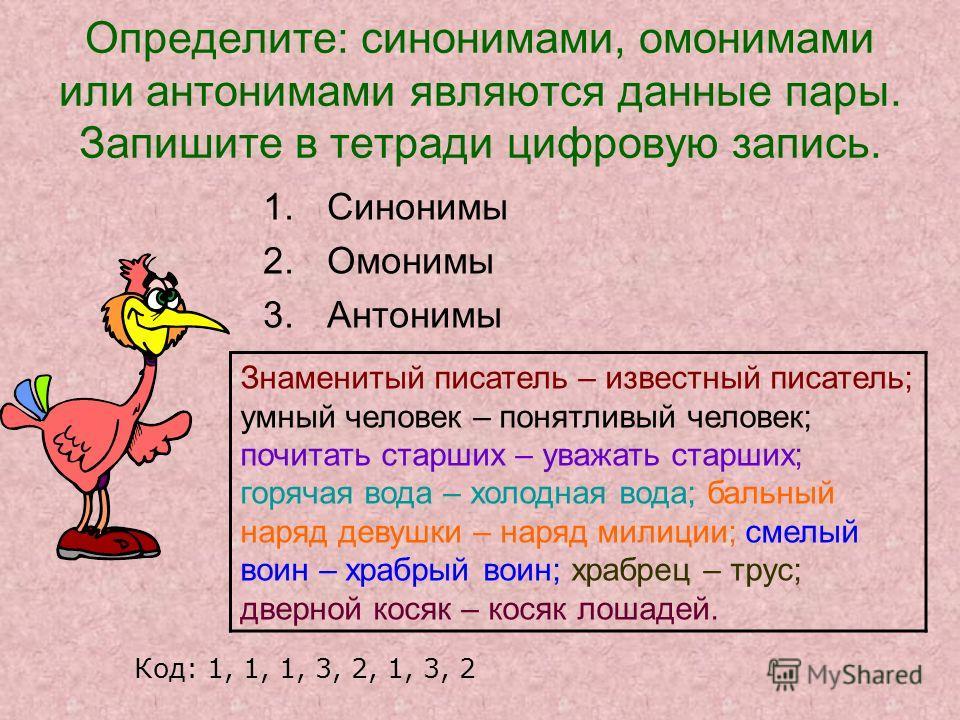 Определите: синонимами, омонимами или антонимами являются данные пары. Запишите в тетради цифровую запись. 1.Синонимы 2.Омонимы 3.Антонимы Знаменитый писатель – известный писатель; умный человек – понятливый человек; почитать старших – уважать старши