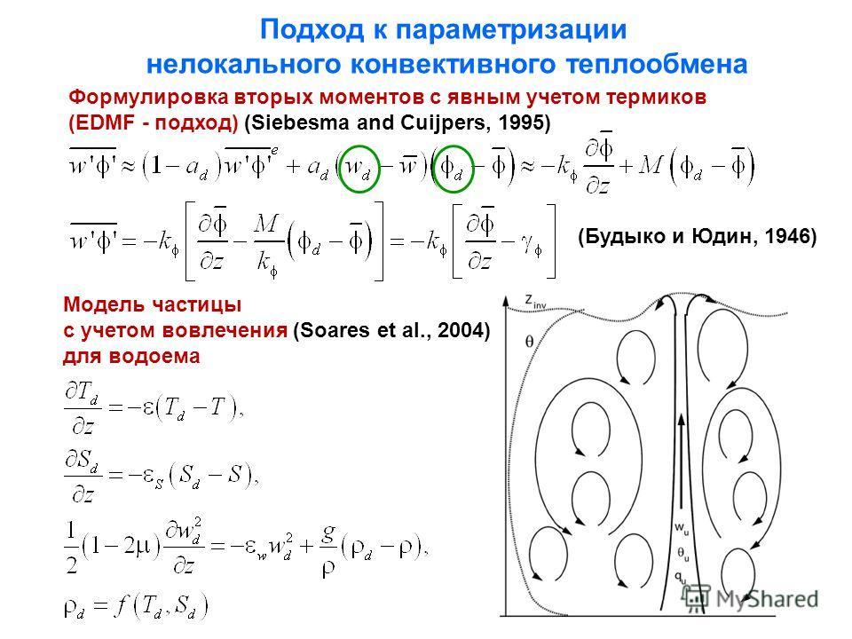 Подход к параметризации нелокального конвективного теплообмена Модель частицы с учетом вовлечения (Soares et al., 2004) для водоема Формулировка вторых моментов с явным учетом термиков (EDMF - подход) (Siebesma and Cuijpers, 1995) (Будыко и Юдин, 194