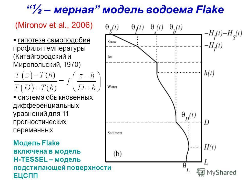 ½ – мерная модель водоема Flake (Mironov et al., 2006) гипотеза самоподобия профиля температуры (Китайгородский и Миропольский, 1970) система обыкновенных дифференциальных уравнений для 11 прогностических переменных Модель Flake включена в модель H-T