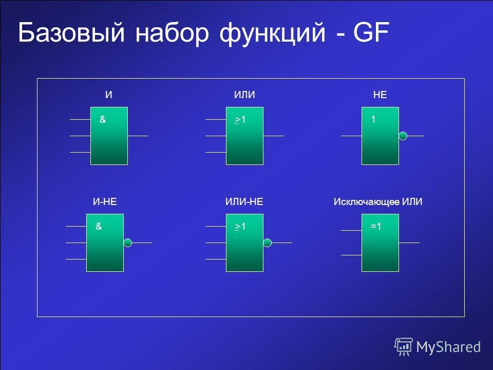Базовый набор функций - GF ИИЛИНЕ И-НЕИЛИ-НЕИсключающее ИЛИ &>11 & =1