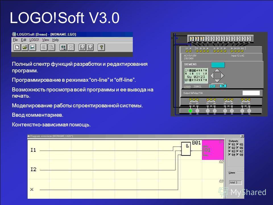 LOGO!Soft V3.0 Полный спектр функций разработки и редактирования программ. Программирование в режимах on-line и off-line. Возможность просмотра всей программы и ее вывода на печать. Моделирование работы спроектированной системы. Ввод комментариев. Ко