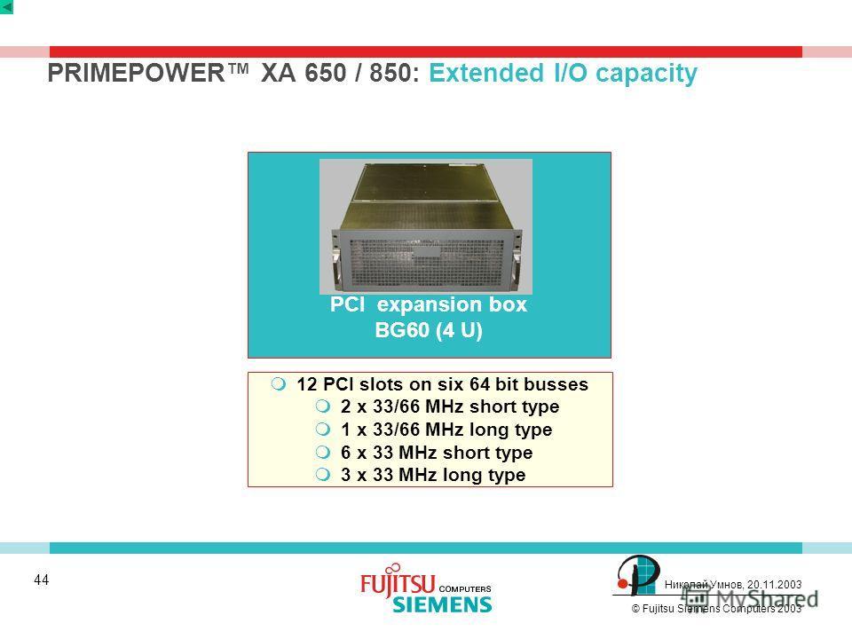 43 © Fujitsu Siemens Computers 2003 Николай Умнов, 20.11.2003 Модельный ряд PRIMEPOWER Технология Производительность Перспективы Cерверы начального и среднего уровня Подсистемы ввода-вывода План