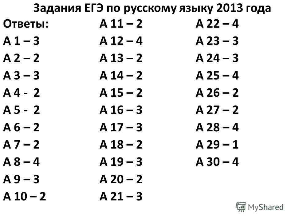 Задания ЕГЭ по русскому языку 2013 года Ответы: А 1 – 3 А 2 – 2 А 3 – 3 А 4 - 2 А 5 - 2 А 6 – 2 А 7 – 2 А 8 – 4 А 9 – 3 А 10 – 2 А 11 – 2 А 12 – 4 А 13 – 2 А 14 – 2 А 15 – 2 А 16 – 3 А 17 – 3 А 18 – 2 А 19 – 3 А 20 – 2 А 21 – 3 А 22 – 4 А 23 – 3 А 24