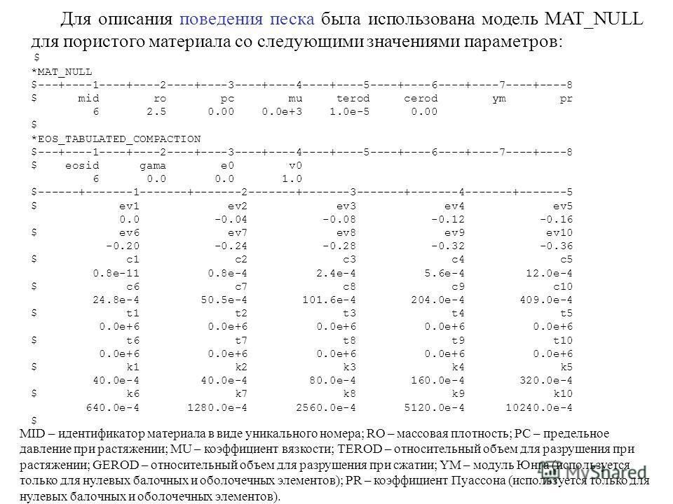 Для описания поведения песка была использована модель MAT_NULL для пористого материала со следующими значениями параметров: $ *MAT_NULL $---+----1----+----2----+----3----+----4----+----5----+----6----+----7----+----8 $ mid ro pc mu terod cerod ym pr