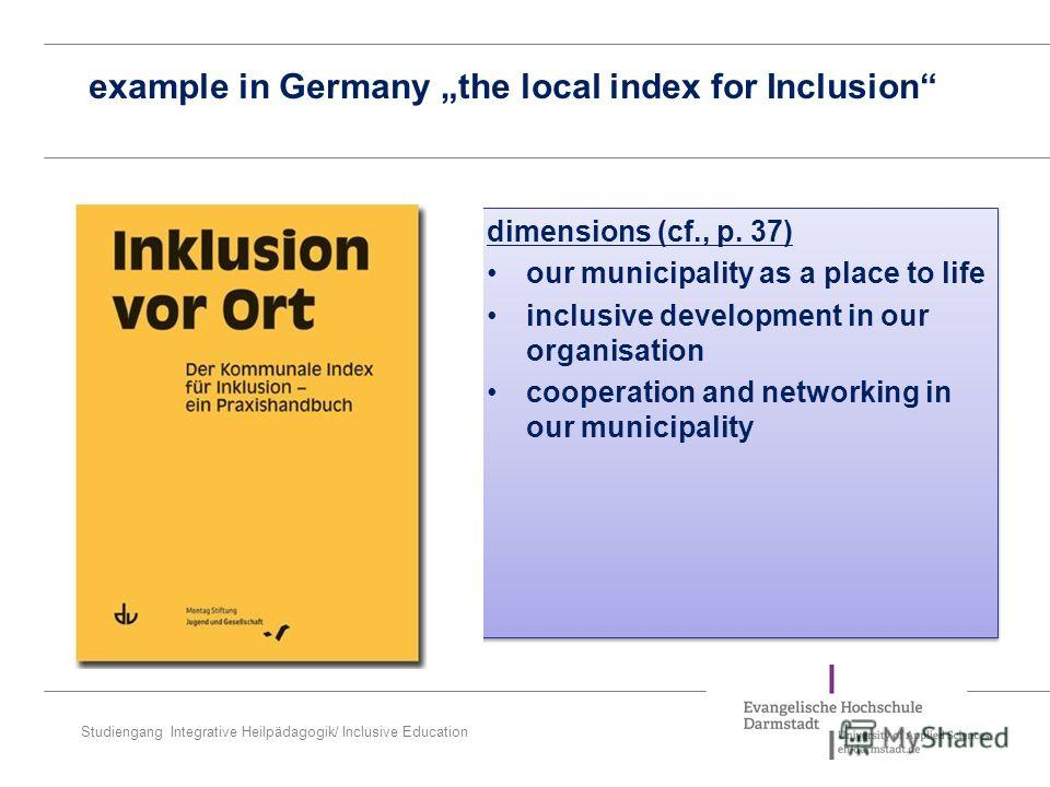 Studiengang Integrative Heilpädagogik/ Inclusive Education example in Germany the local index for Inclusion