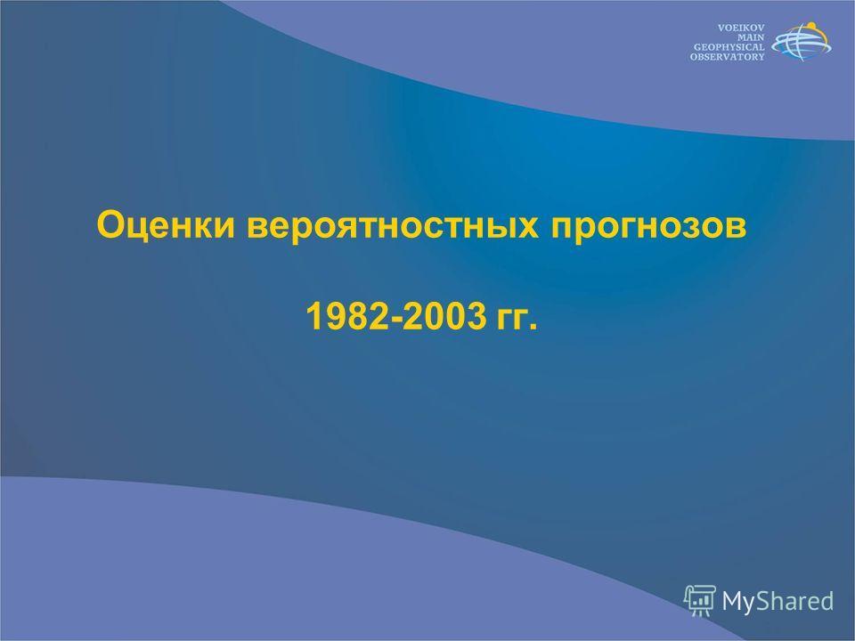 Оценки вероятностных прогнозов 1982-2003 гг.