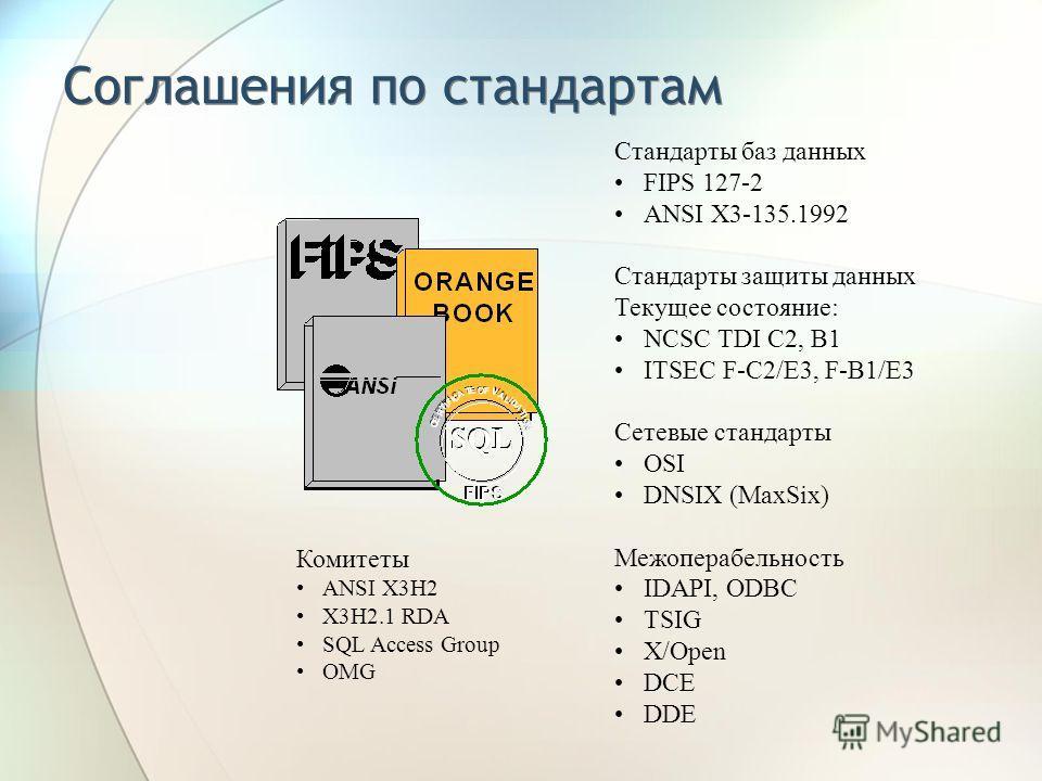 Соглашения по стандартам Комитеты ANSI X3H2 X3H2.1 RDA SQL Access Group OMG Стандарты баз данных FIPS 127-2 ANSI X3-135.1992 Стандарты защиты данных Текущее состояние: NCSC TDI C2, B1 ITSEC F-C2/E3, F-B1/E3 Сетевые стандарты OSI DNSIX (MaxSix) Межопе