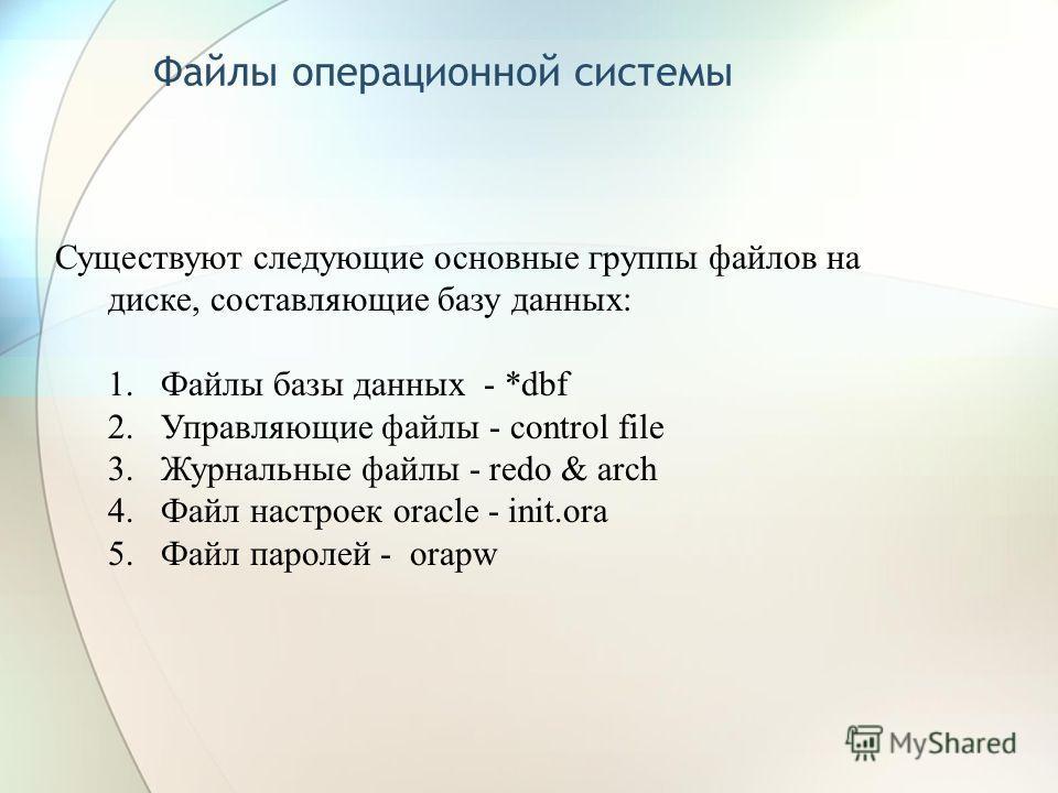 Файлы операционной системы Существуют следующие основные группы файлов на диске, составляющие базу данных: 1.Файлы базы данных - *dbf 2.Управляющие файлы - control file 3.Журнальные файлы - redo & arch 4.Файл настроек oracle - init.ora 5.Файл паролей