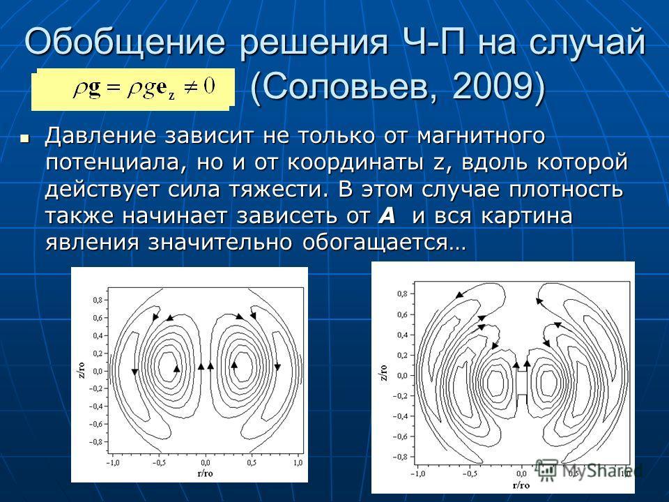 Обобщение решения Ч-П на случай ( (Соловьев, 2009) Давление зависит не только от магнитного потенциала, но и от координаты z, вдоль которой действует сила тяжести. В этом случае плотность также начинает зависеть от А и вся картина явления значительно