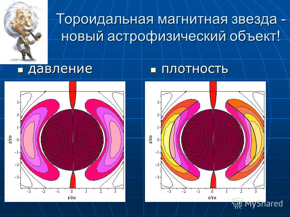 Тороидальная магнитная звезда - новый астрофизический объект! давление давление плотность плотность ии ии