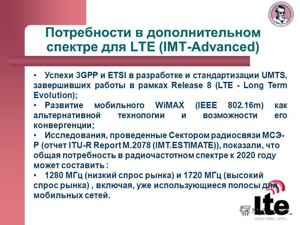 Потребности в дополнительном спектре для LTE (IMT-Advanced) Успехи 3GPP и ETSI в разработке и стандартизации UMTS, завершивших работы в рамках Release 8 (LTE - Long Term Evolution); Развитие мобильного WiMAX (IEEE 802.16m) как альтернативной технолог