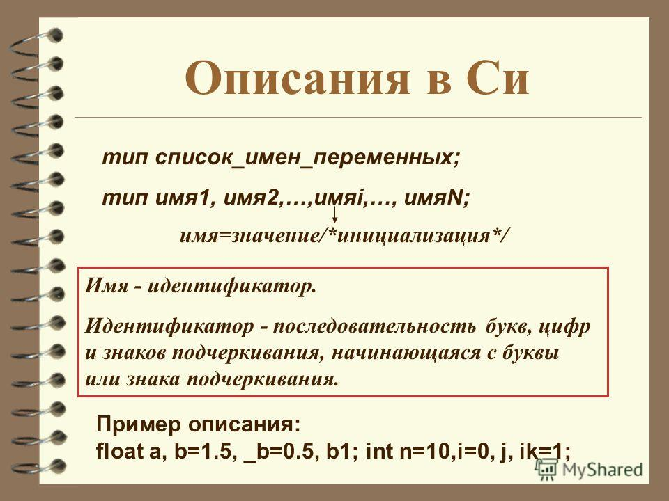 Описания в Си тип список_имен_переменных; тип имя1, имя2,…,имяi,…, имяN; имя=значение/*инициализация*/ Пример описания: float a, b=1.5, _b=0.5, b1; int n=10,i=0, j, ik=1; Имя - идентификатор. Идентификатор - последовательность букв, цифр и знаков под