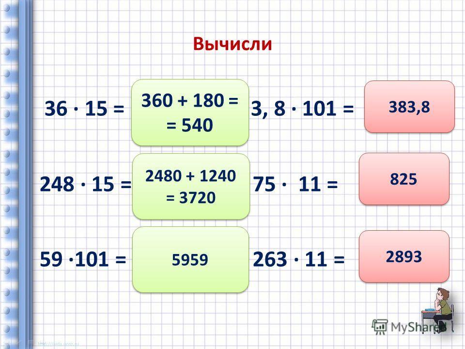 Вычисли 36 15 = 3, 8 101 = 248 15 = 75 11 = 59 101 = 263 11 = 360 + 180 = = 540 2480 + 1240 = 3720 5959 383,8 825 2893
