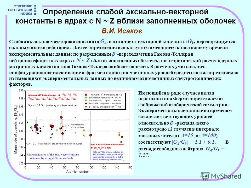 В.И. Исаков ОТДЕЛЕНИЕ ТЕОРЕТИЧЕСКОЙ ФИЗИКИ ПИЯФПИЯФ Определение слабой аксиально-векторной константы в ядрах с N ~ Z вблизи заполненных оболочек Слабая аксиально - векторная константа G A, в отличие от векторной константы G V, перенормируется сильным