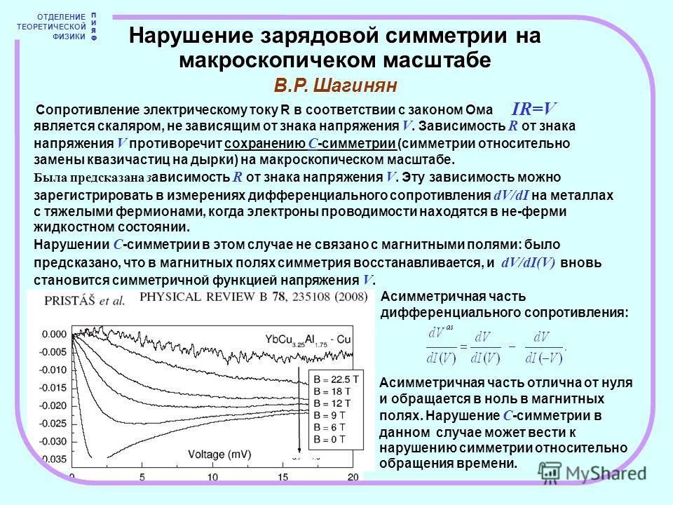 ОТДЕЛЕНИЕ ТЕОРЕТИЧЕСКОЙ ФИЗИКИ ПИЯФПИЯФ Сопротивление электрическому току R в соответствии с законом Ома Нарушение зарядовой симметрии на макроскопичеком масштабе В.Р. Шагинян IR=V является скаляром, не зависящим от знака напряжения V. Зависимость R