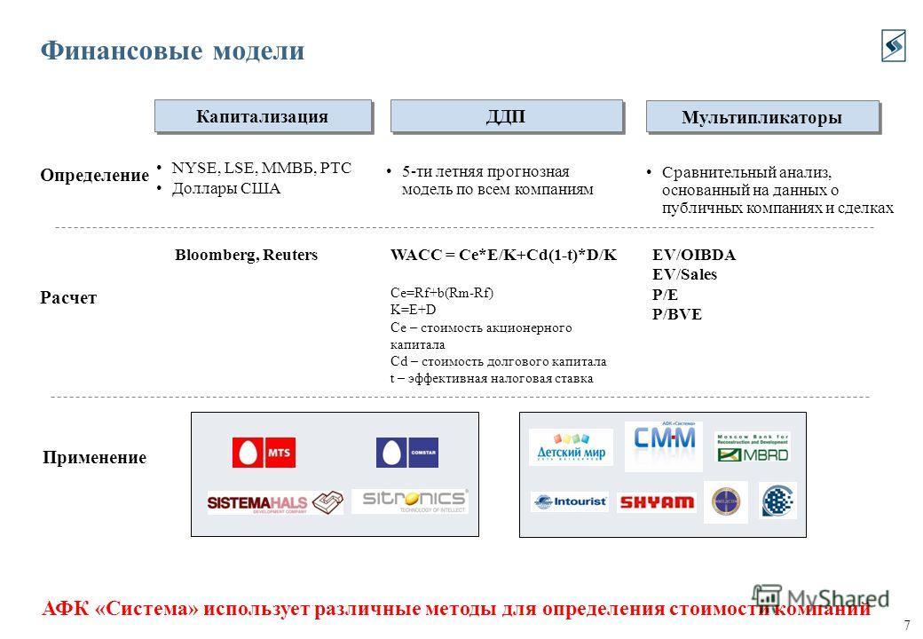 7 Определение Расчет Bloomberg, ReutersWACC = Ce*E/K+Cd(1-t)*D/K Ce=Rf+b(Rm-Rf) K=E+D Ce – стоимость акционерного капитала Cd – стоимость долгового капитала t – эффективная налоговая ставка Финансовые модели АФК «Система» использует различные методы