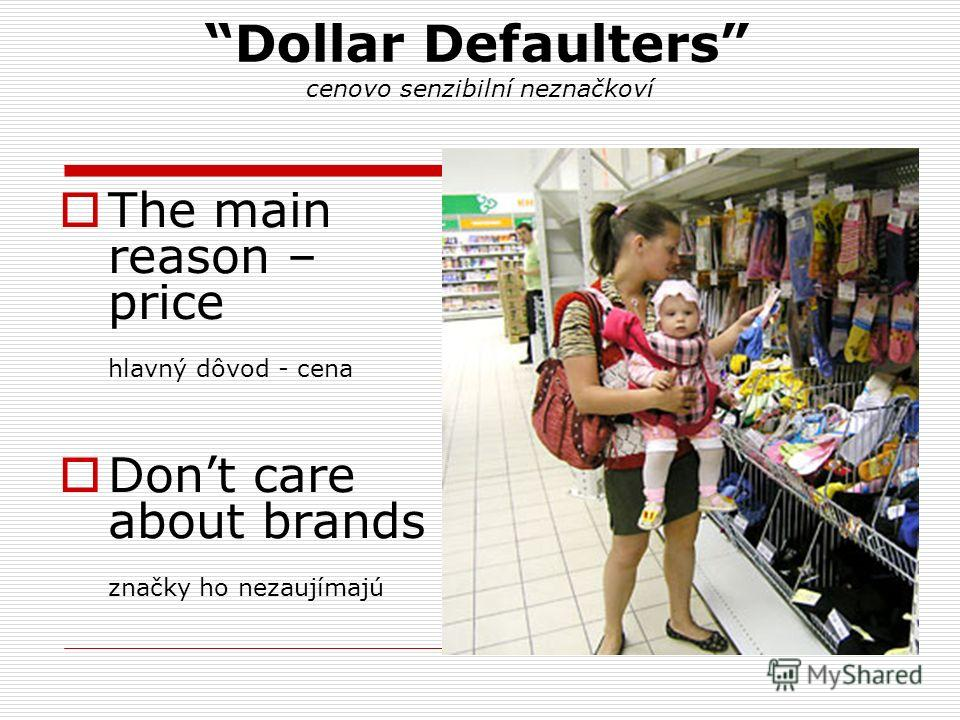 Dollar Defaulters cenovo senzibilní neznačkoví The main reason – price hlavný dôvod - cena Dont care about brands značky ho nezaujímajú