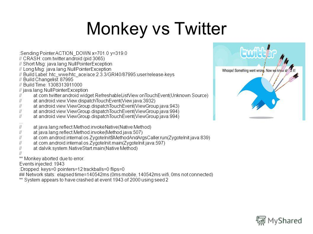 Monkey vs Twitter :Sending Pointer ACTION_DOWN x=701.0 y=319.0 // CRASH: com.twitter.android (pid 3065) // Short Msg: java.lang.NullPointerException // Long Msg: java.lang.NullPointerException // Build Label: htc_wwe/htc_ace/ace:2.3.3/GRI40/87995:use