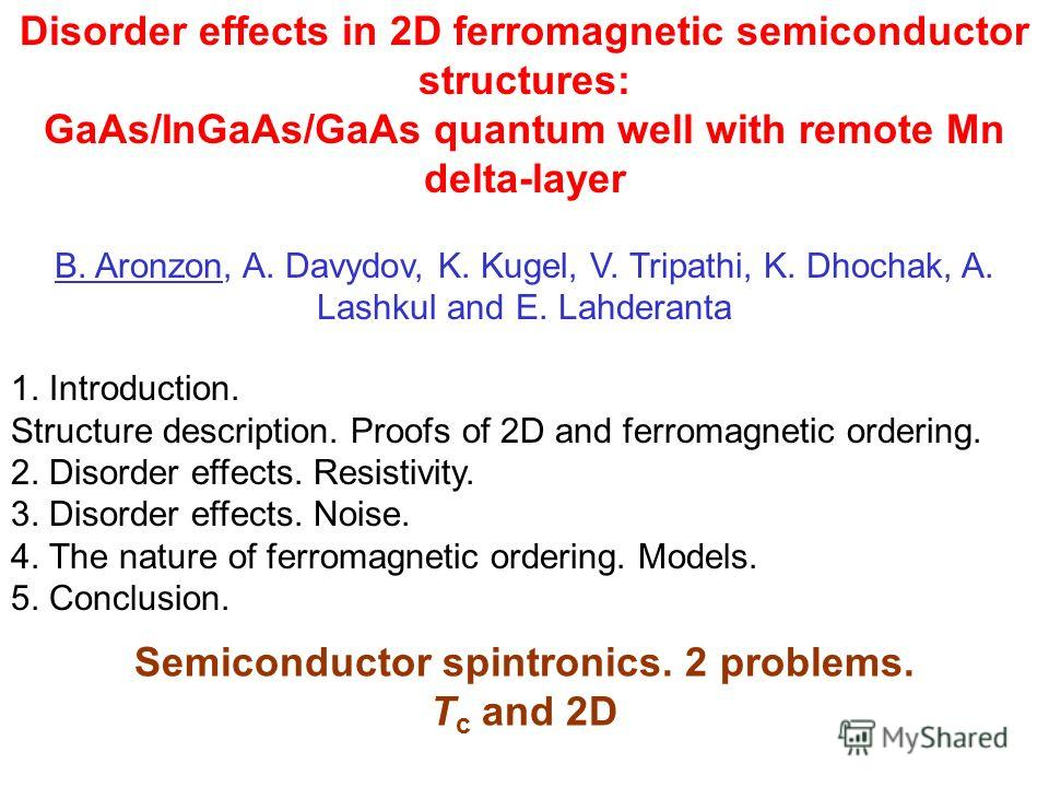 Disorder effects in 2D ferromagnetic semiconductor structures: GaAs/InGaAs/GaAs quantum well with remote Mn delta-layer B. Aronzon, A. Davydov, K. Kugel, V. Tripathi, K. Dhochak, A. Lashkul and E. Lahderanta 1. Introduction. Structure description. Pr