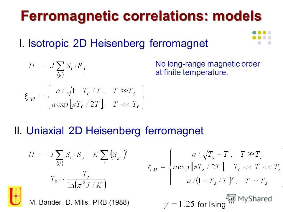 Ferromagnetic correlations: models I. Isotropic 2D Heisenberg ferromagnet II. Uniaxial 2D Heisenberg ferromagnet No long-range magnetic order at finite temperature. M. Bander, D. Mills, PRB (1988) for Ising