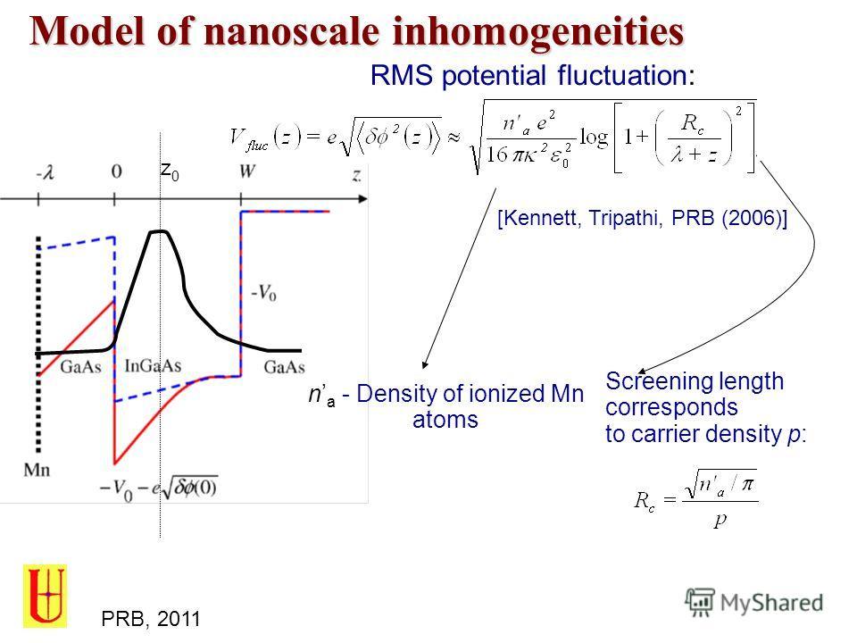 Model of nanoscale inhomogeneities z0z0 RMS potential fluctuation: n a - Density of ionized Mn atoms Screening length corresponds to carrier density p: [Kennett, Tripathi, PRB (2006)] PRB, 2011